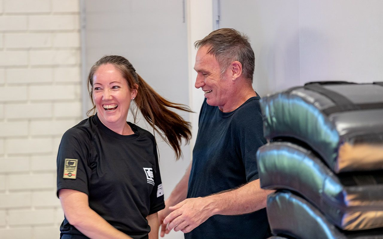 Brisbane newcomer Nikki shares a laugh with her training partner