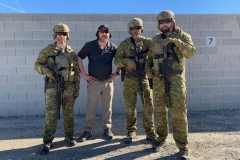L-R: Weapons tester, Mark Nicholson (Force Ordnance), Reece Dewar and Paul Cale at Frontsight range in Nevada, USA