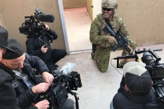 Reece Dewar shares a laugh with Force Ordnance's film crew