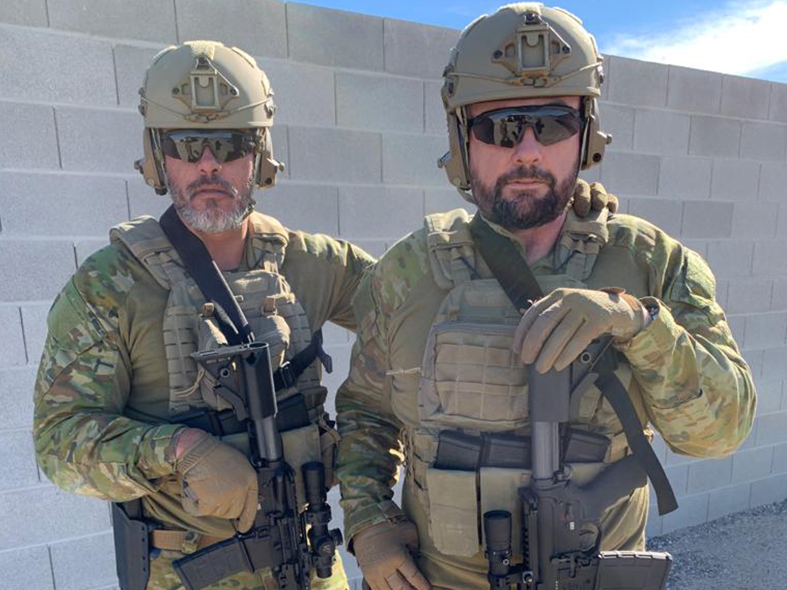 KEF Mission Specialist trainer Reece Dewar and KEF CEO Paul Cale testing weaponry in Nevada, USA, for Force Ordnance in Jan. 2019