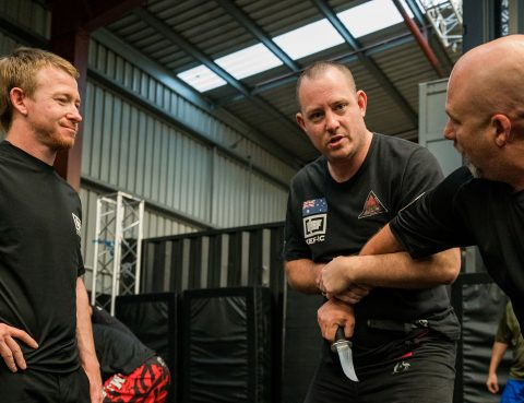 KEF–IC Instructor Geordie Lavers-McBain teaching knife defence